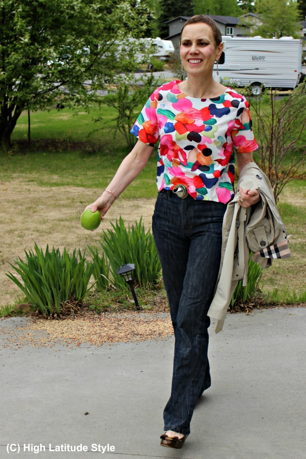fashion over 50 woman in blouse and jeans