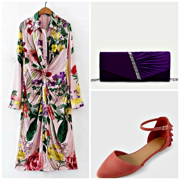 shirt dress with floral print and stripes