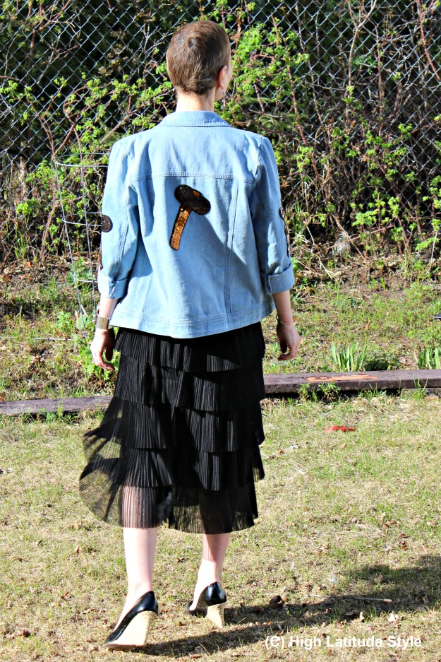 fashion over 50 pleated skirt with denim jacket