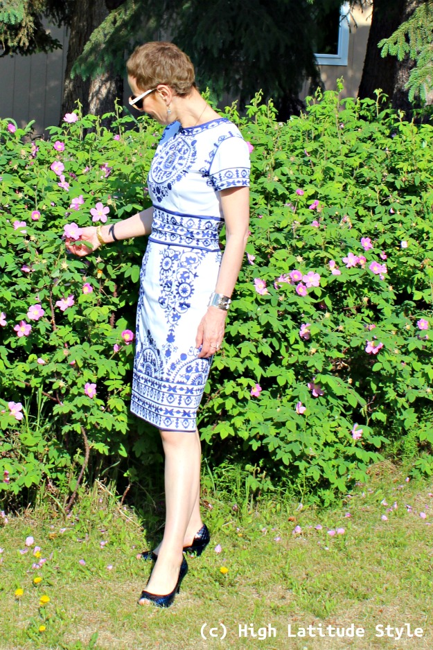 mature fashion woman in printed sheath
