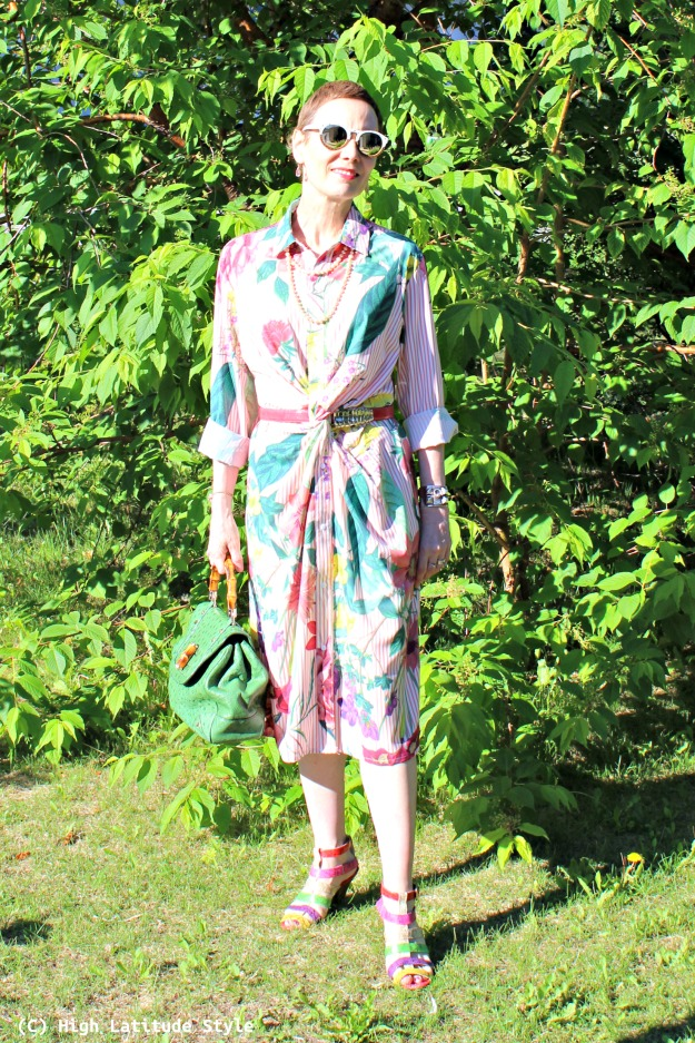 fashion over 40 woman in striped floral dress
