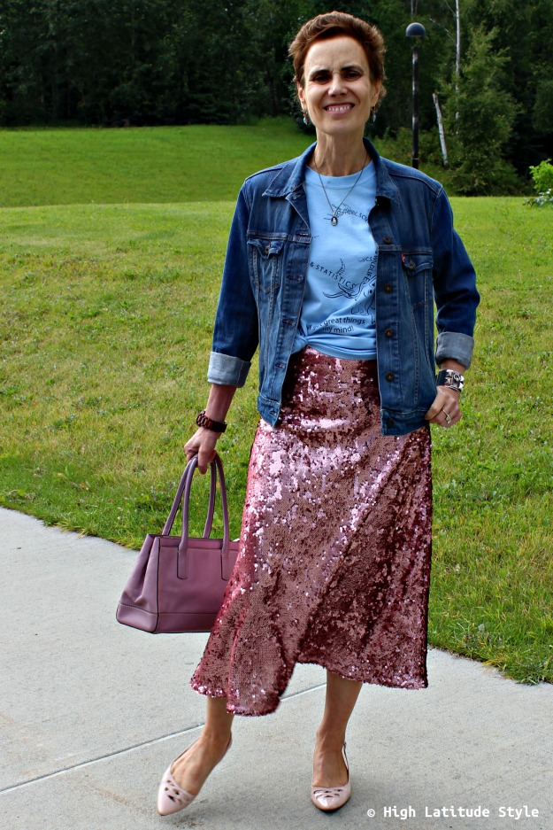 fashion over 40 woman in blue and pink outfit