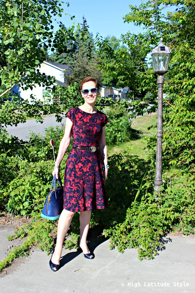 fashion over 40 Alaskan woman in summer dress