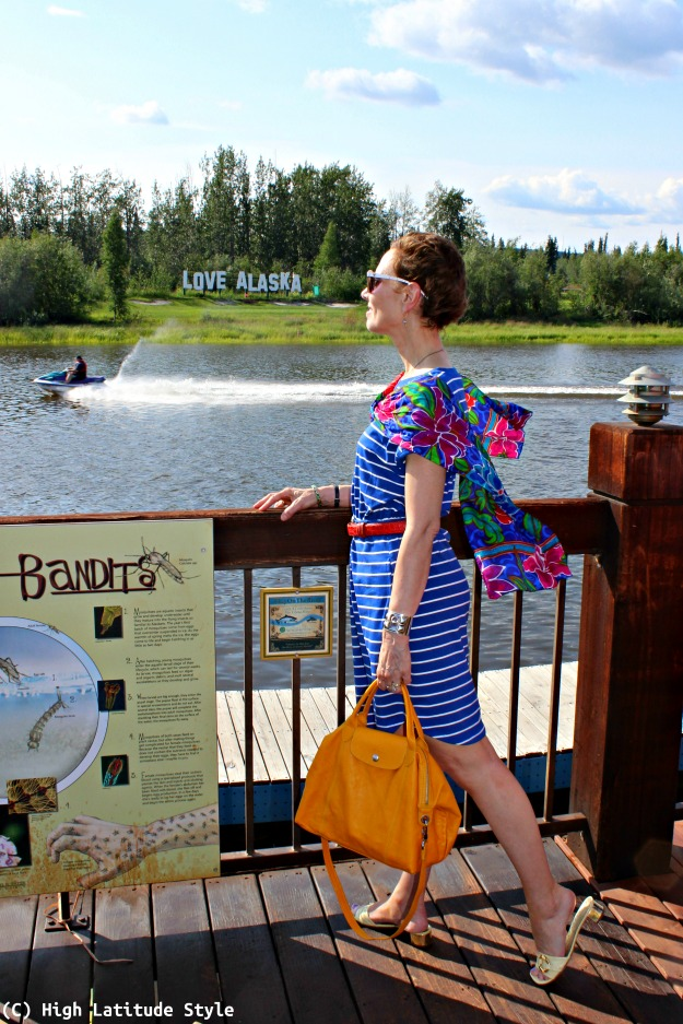 fashion over 40 woman in casual summer look at the river