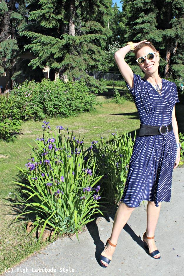 fashion over 50 woman in polka dot dress