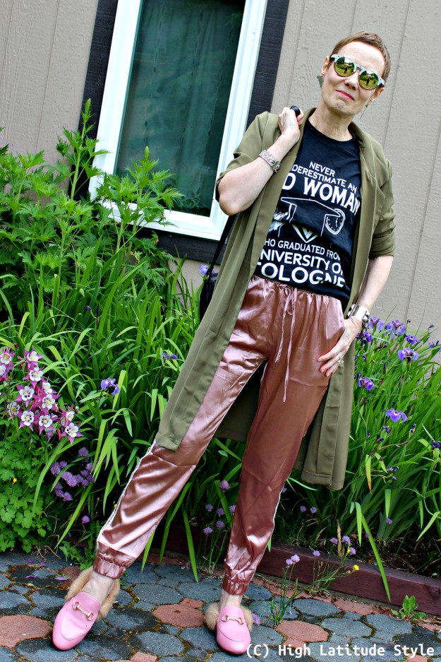 mature style woman in mate and shiny casual outfit