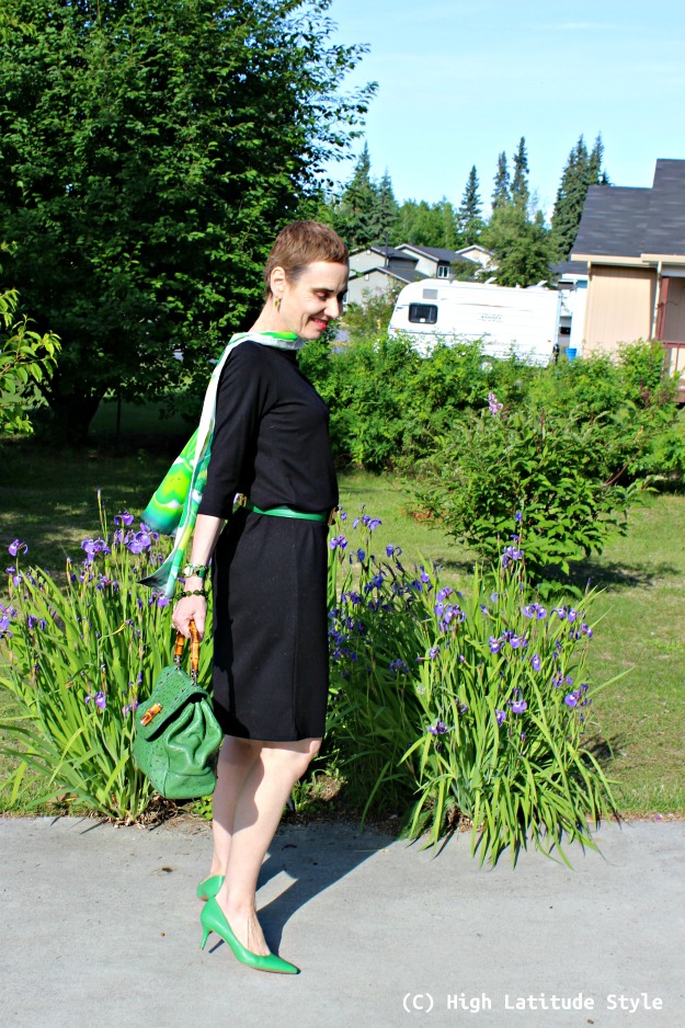 fashion over 50 woman in LBD and scarf