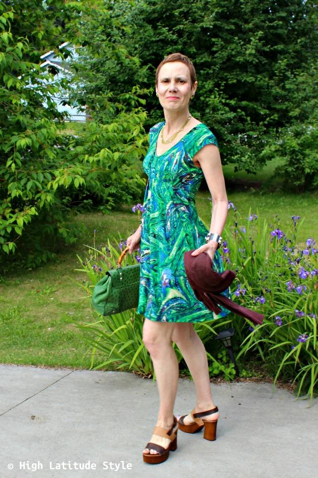 advanced fashion woman in green summer dress