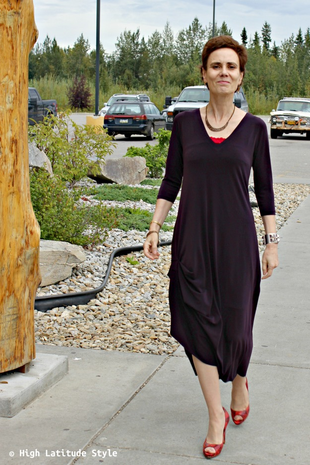 fashion over 40 woman in drama garment