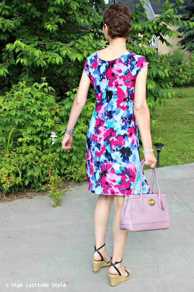 mature style woman in print dress