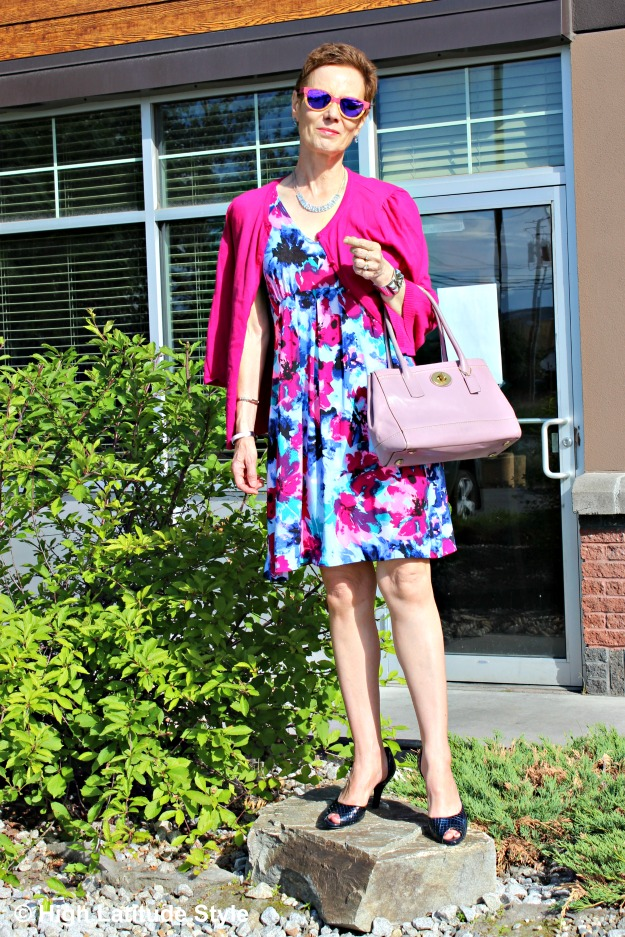 fashion over 50 woman in dress with cardigan
