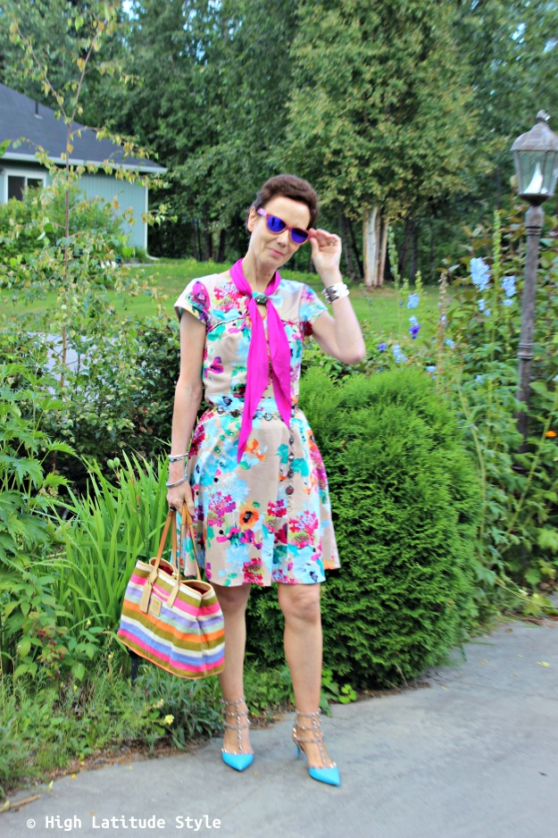 Fashion over 40 woman in colorful summer look