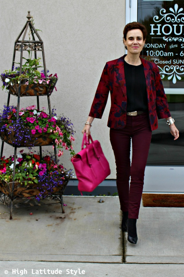 mature style woman in floral trend