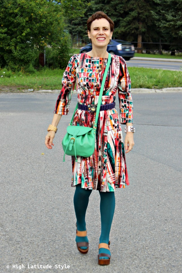 fashion over 50 woman in colorful outfit