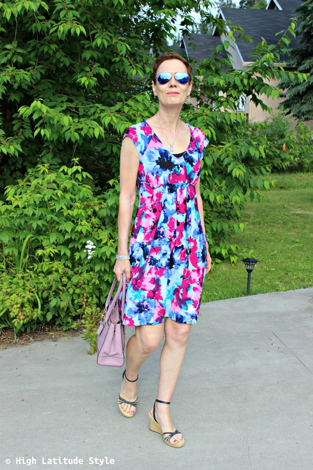 style over 50 woman in dress with cami