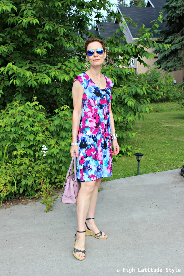 fashion over 40 woman in print dress
