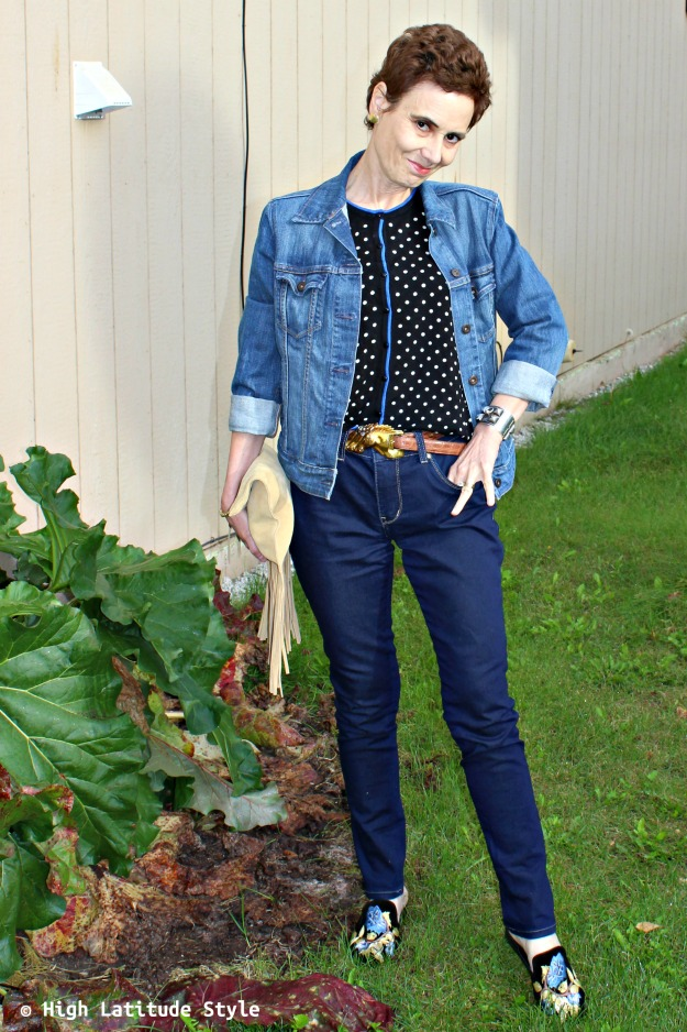 fall trends fringe, polka dots and embroidery in one outfit