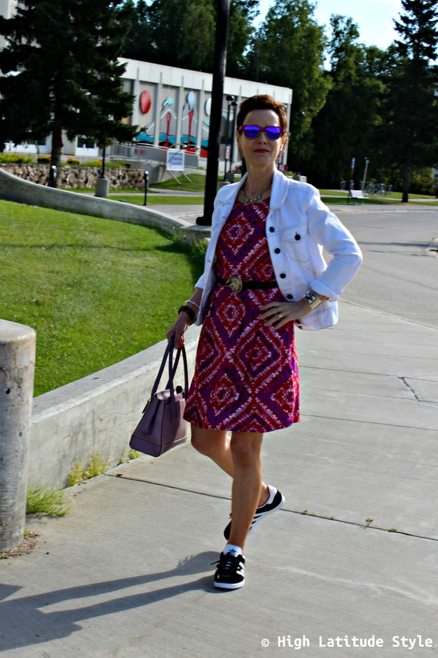 mature fashion woman in print dress