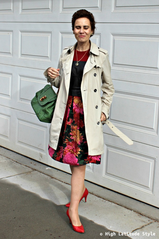 mature fashion woman in trench coat