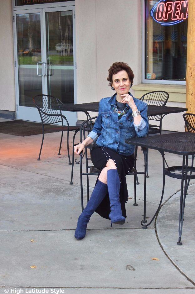 mature woman in blue and black Casual Friday outfit