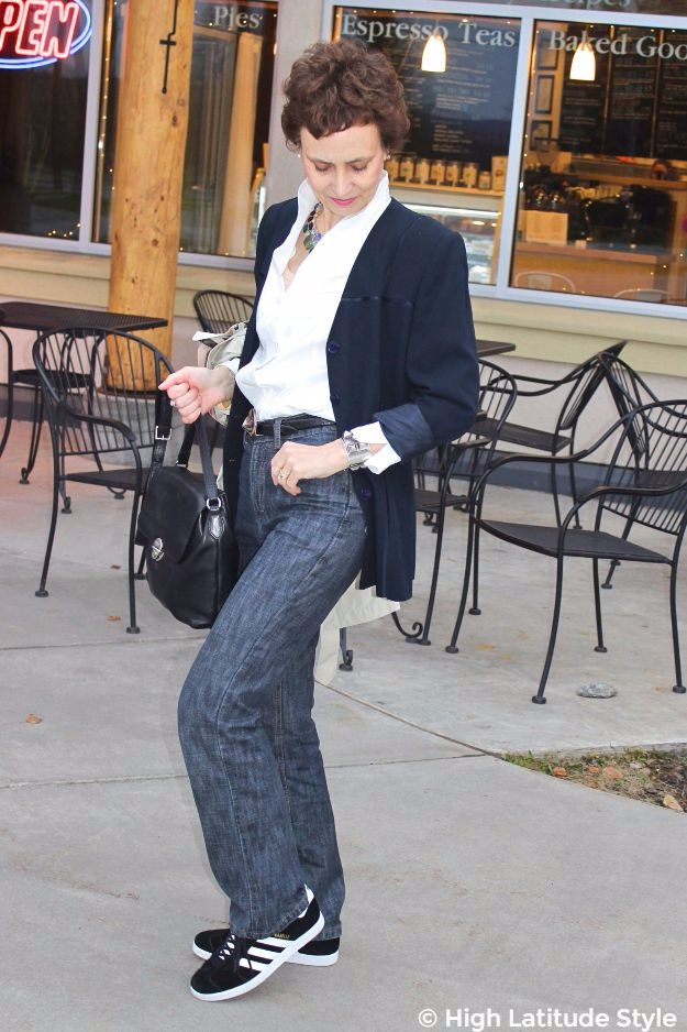 mature woman in business casual chic look