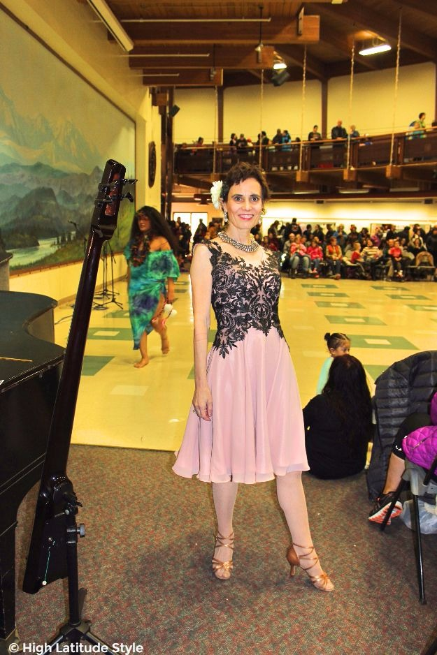 midlife woman looking posh chic in dance dress