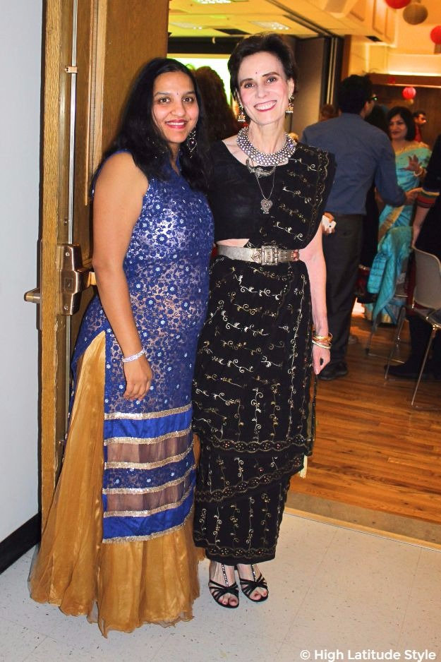 midlife women in festive outfits at Diwali