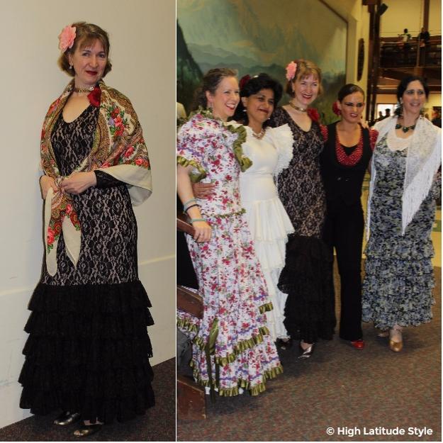 midlife women in flamenco dresses