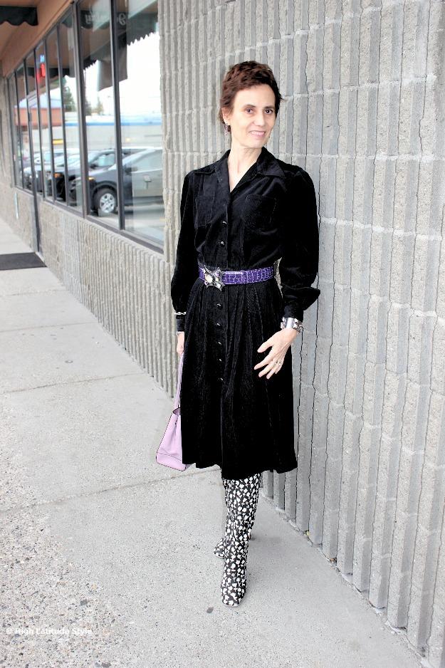 posh chic midlife woman in corduroy dress
