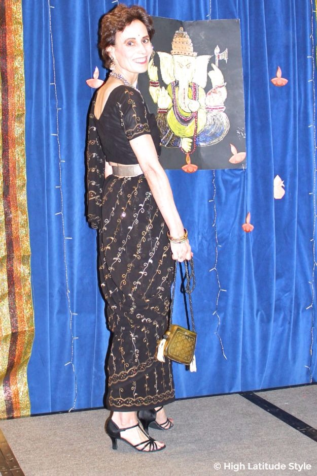 over 40 year old in embroidered saree