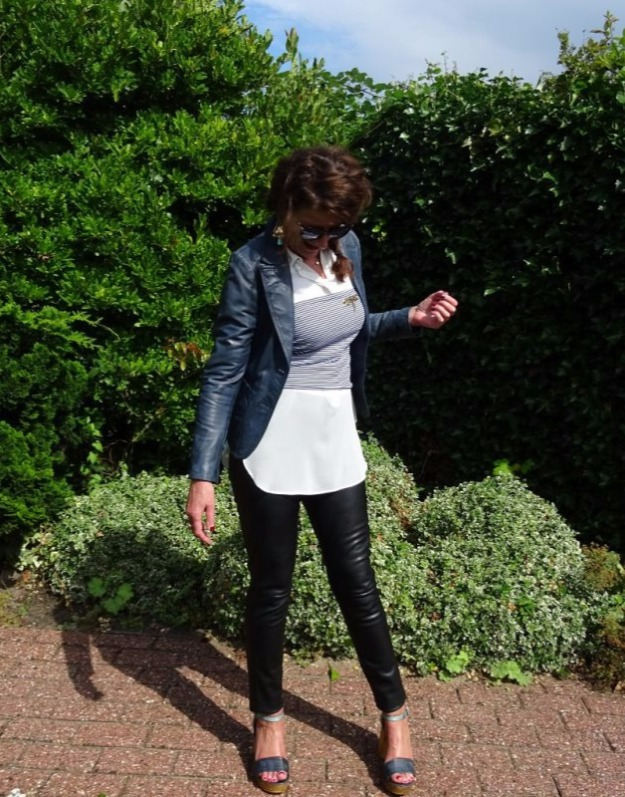 woman in nappa blazer and leggings