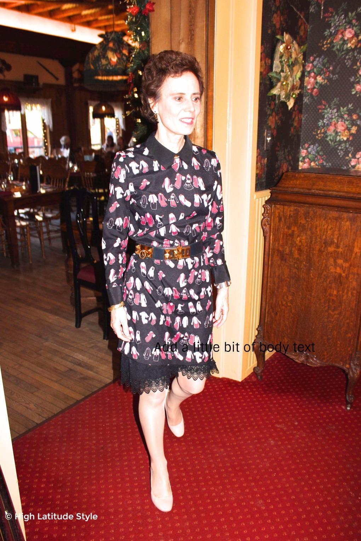 mature woman in Victoria Victoria Beckham dress