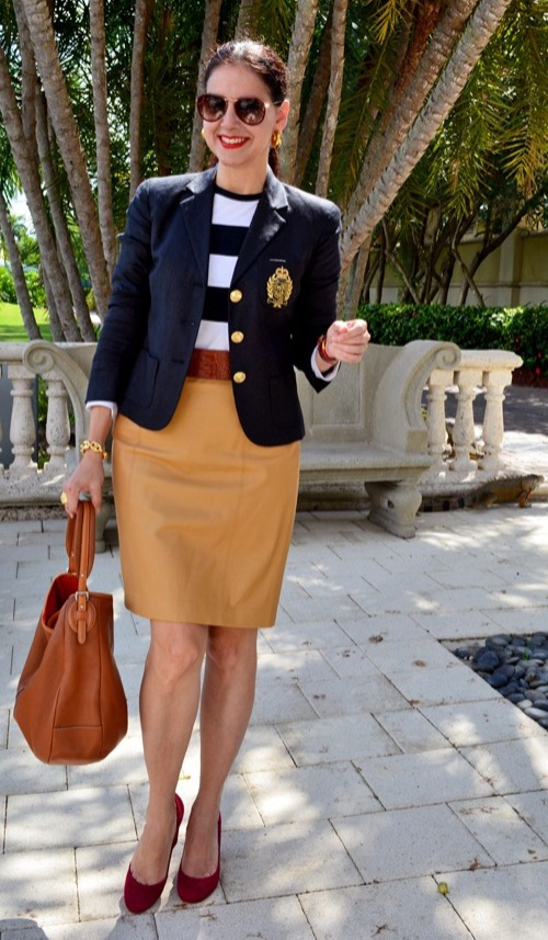 mature work outfit with straight nappa skirt
