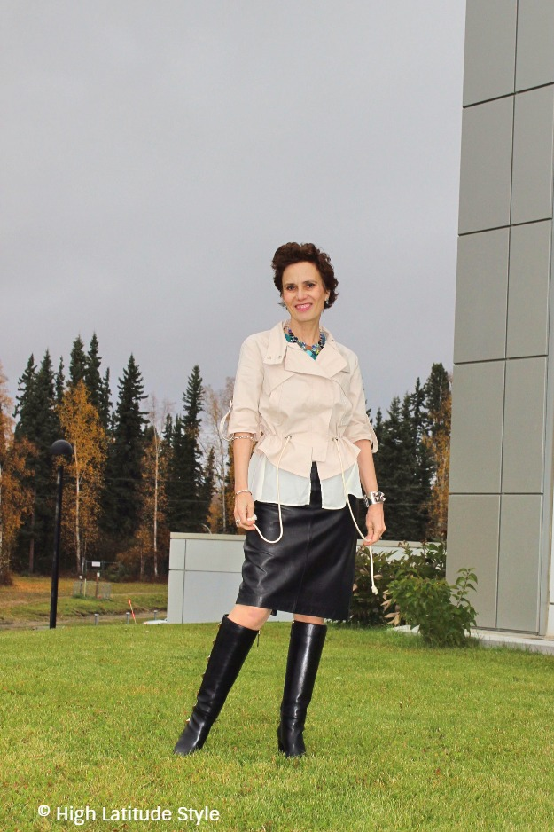 midlife woman wearing Valentino boots