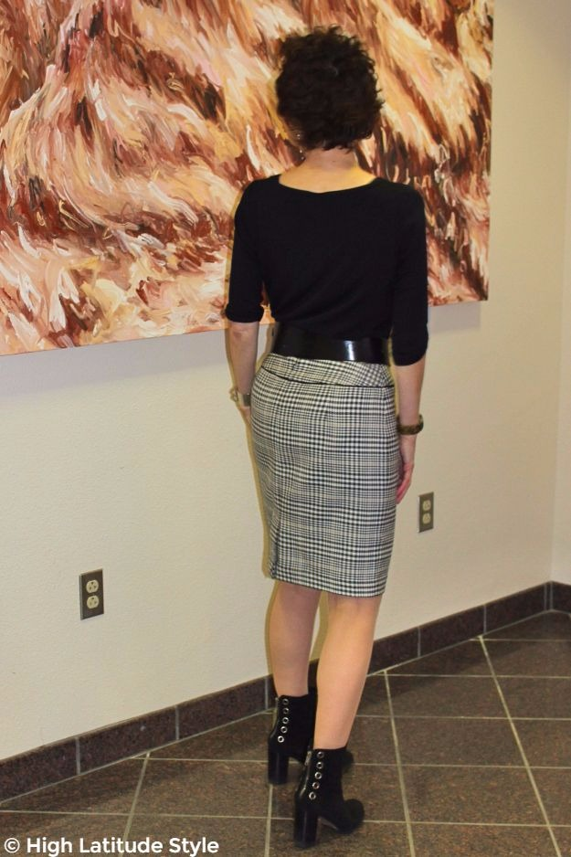 mature woman in winter office outfit