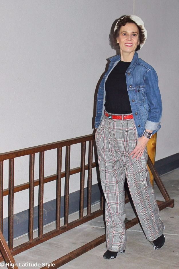 midlife woman in posh chic casual Paris inspired look
