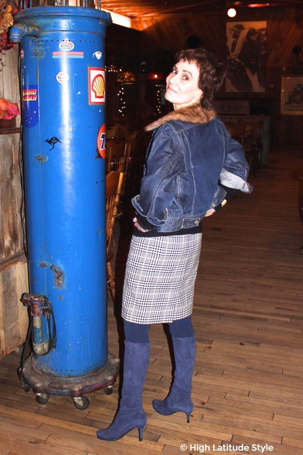 midlife woman in chic hounds tooth skirt with jean jacket