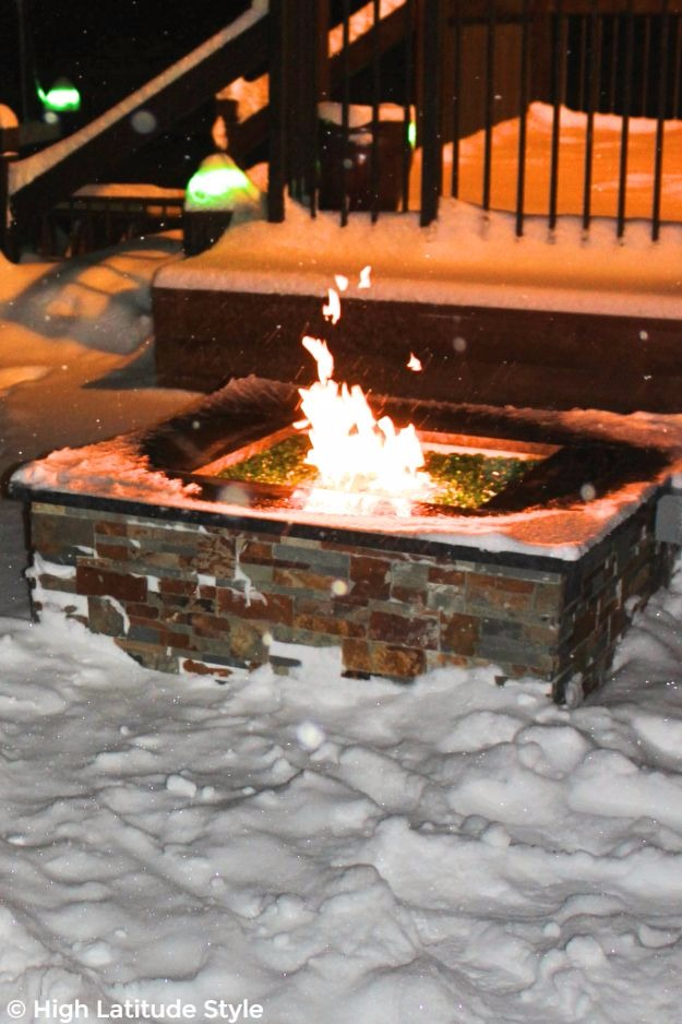 fire place in the snow at Pike's Landing in Fairbanks, Alaska