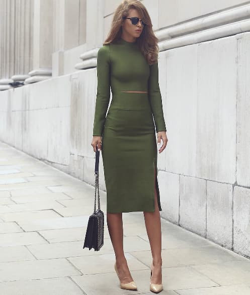 Kiss Missie Amie green two-piece long sleeve bandage dress