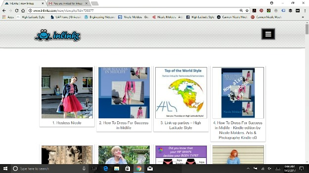linkup page with thumbnails of linked posts