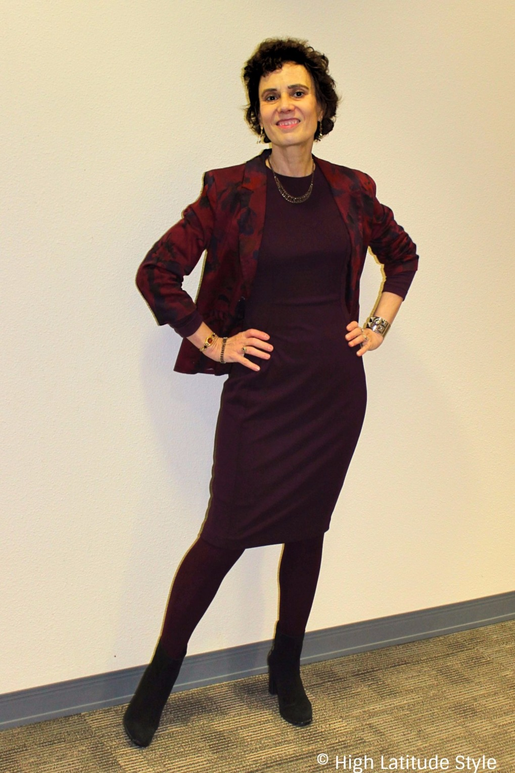 mature woman in monochromatic outfit