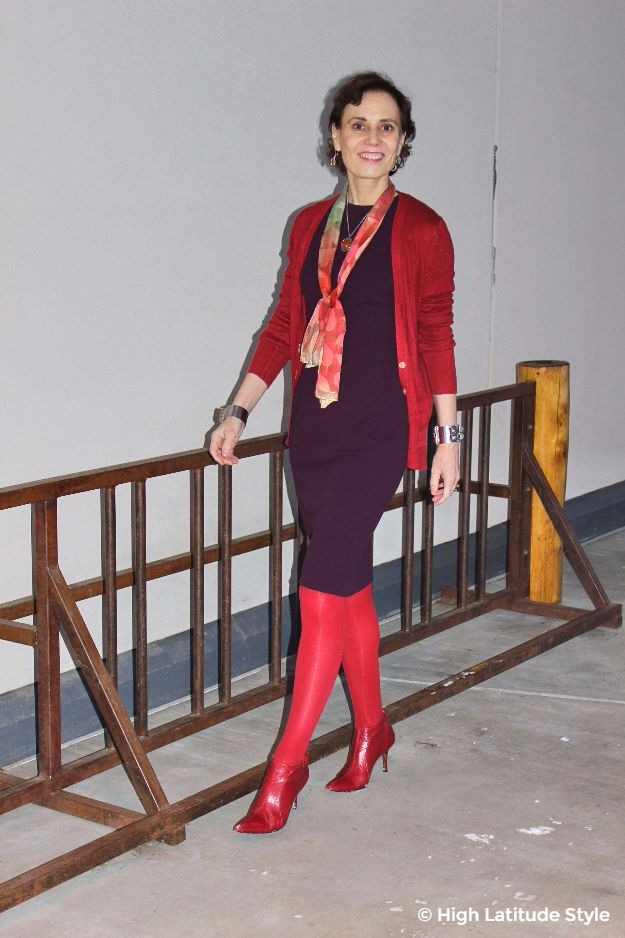 midlife woman in fall office outfit with cardigan, and sheath