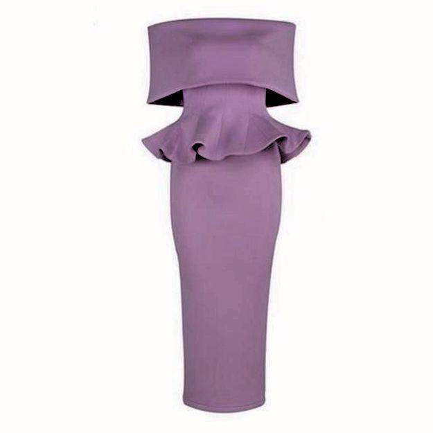 Kiss Missie short sleeve slash neck off the shoulder sexy ruffles dress in lavender
