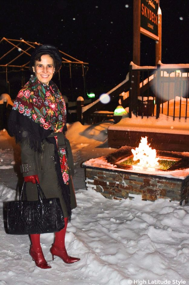 mature woman in styled winter outerwear