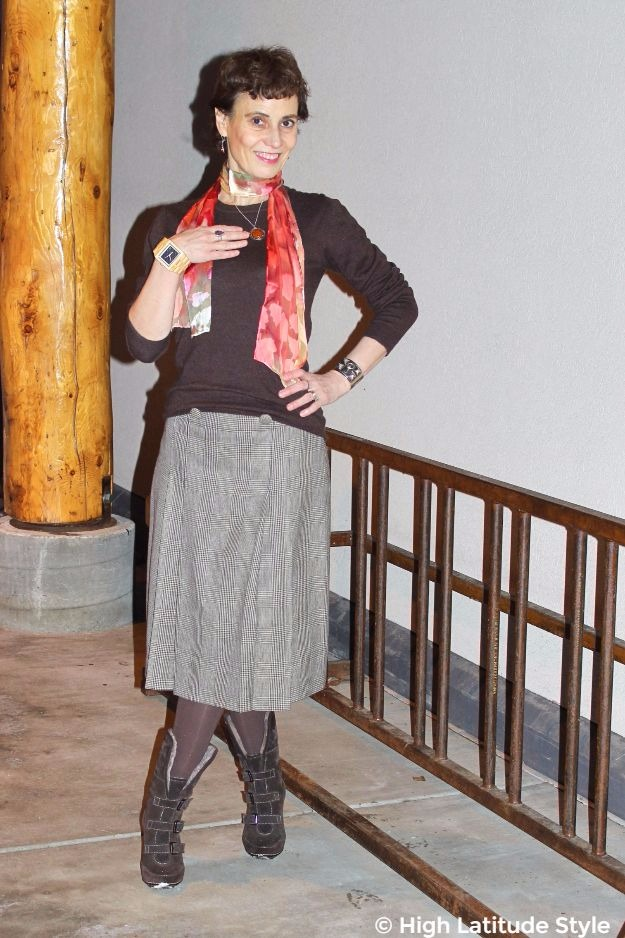 mature woman in fall work outfit with accessories